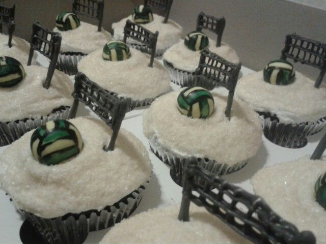Volleyball net and ball chocolate cupcakes with white chocolate icing by ButterCupCakes