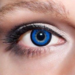 Blaue große Kontaktlinsen 15mm farbige dunkelblaue Linsen Big Eyes Augen KwikSibs, auch mit Stärken