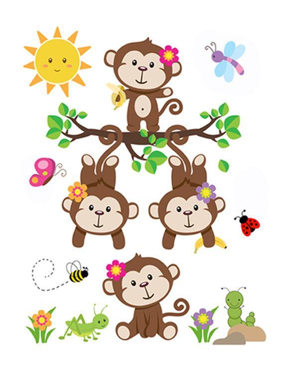MONKEY NURSERY DECAL Baby Girl Wall Art Mural Stickers Decor Safari Jungle Animal Room Pink Shower Gift Decorations Hanging Swinging Monkeys #decampstudios