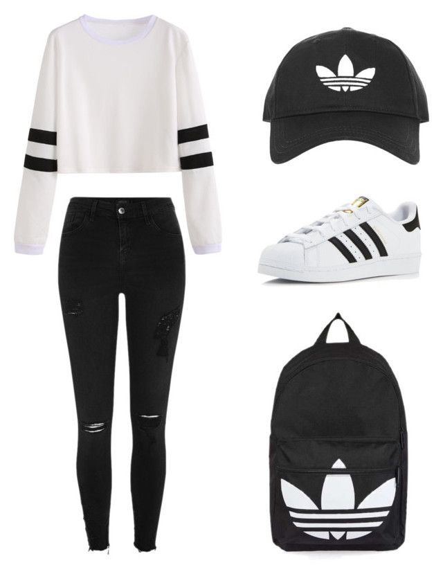 """""""Monochromic adidas"""" by rosaline-agnes-suryawan on Polyvore featuring Topshop, adidas and River Island"""