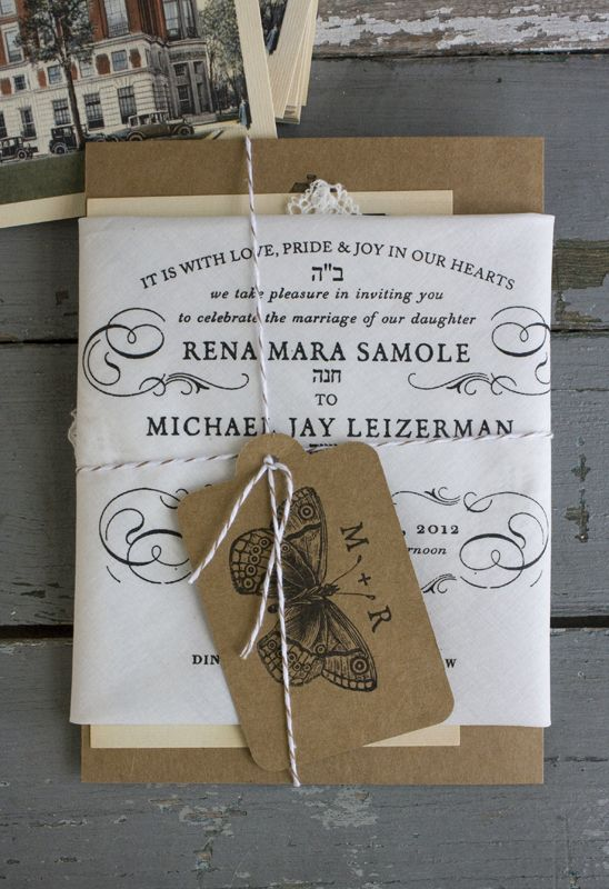 Kraft paper + Lace + Striped Twine = SOLD!!! Minus the butterfly. This is my idea of the perfect wedding invite.