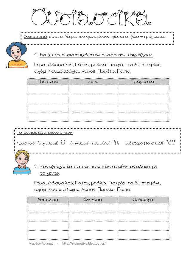 Μάνθου Αργυρώ - http://stdimotiko.blogspot.gr/ 1. Βάζω τα ουσιαστικά στην ομάδα που ταιριάζουν. Γόμα, Δάσκαλος, Γάτος, μ...