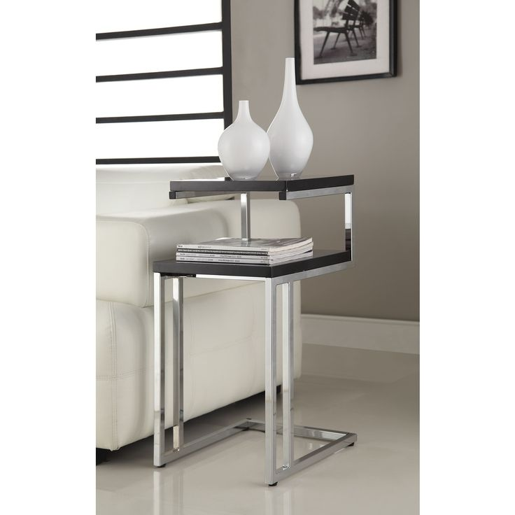 Black finish chrome chair side end snack table overstock for Table shopping