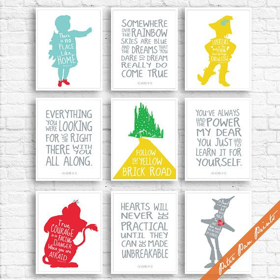 Wizard of OZ Quotes and Characters - Set of 9 Art Prints (Unframed) (Featured on…