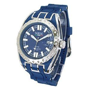 Product Description Product Description Case size: 40mm diameter Swiss made quartz battery movement dial with indices Stainless steal case Blue silicone bracelet Date calendar function Mineral glass crystal Water resistant to 50atm