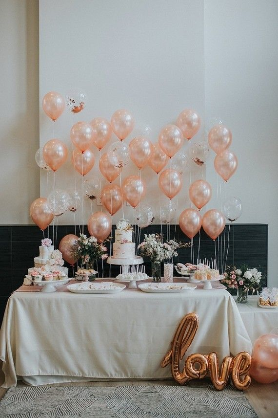 Pink Baby Shower With Lots Of Balloons Wedding Party Ideas In 2020 Rose Gold Party Wedding Balloons Pink Baby Shower
