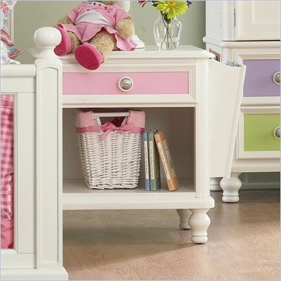 Pulaski Build-A-Bear Pawsitively Yours Kids Nightstand in Vanilla - The finely crafted Pawsitively Yours Nightstand will be the perfect addition along side your kid's bed. It features a lower open storage with cord management opening, removable magazine side storage that can be placed on either side of the nightstand and one drawer to store all the bedtime necessities within arms reach. Add transitional charm to your child's bedroom with the Pawsitively Yours Nightstand.