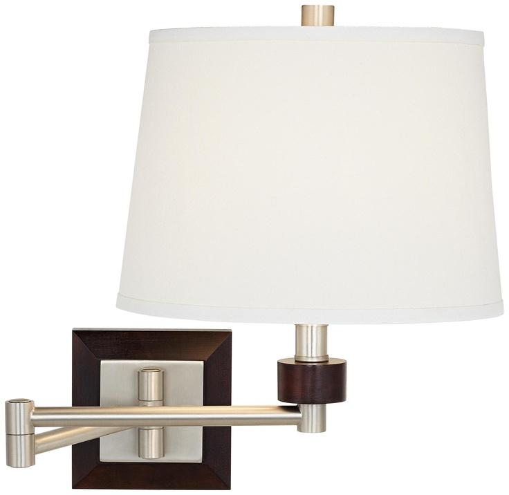 Brushed Steel And Wood Swing Arm Wall Light