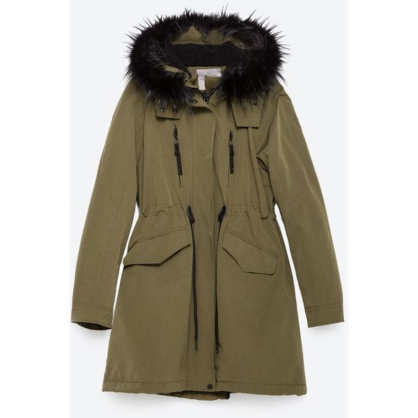 Zara Fleece Lined Parka (1 555 SEK) ❤ liked on Polyvore featuring outerwear, coats, zara, khaki, brown parka, khaki parka, fleece lined parka, fleece lined coat and lined parka