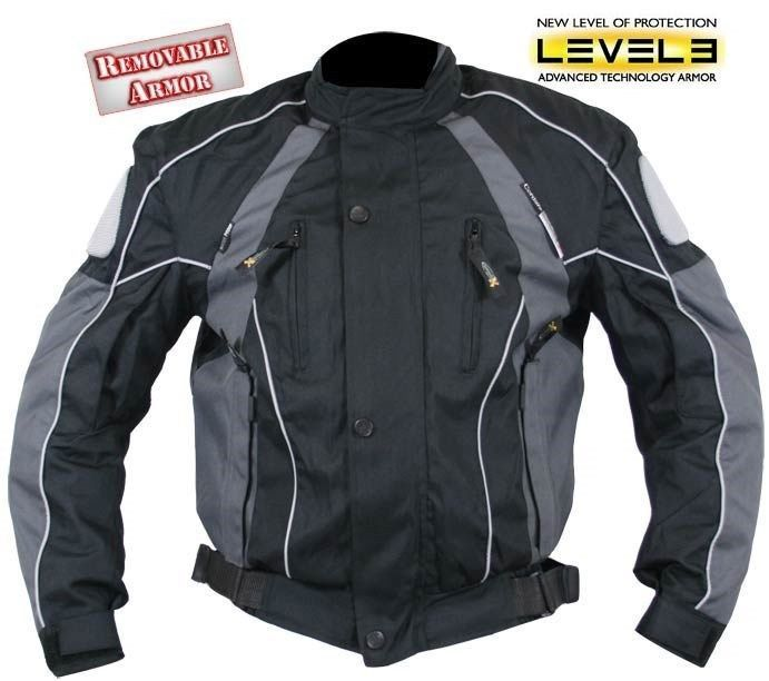 Menu0027s Black And Grey Armored Motorcycle Tri Tex Fabric Jackets By Xelement