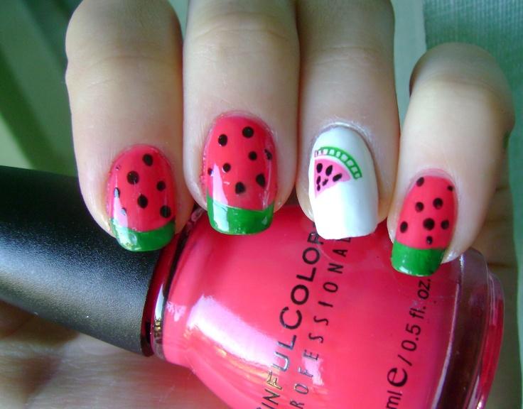 watermelon maniNails Art, Cute Nails, Nails Ideas, Nails Polish, Watermelon Manicures, Limes Manicures, Watermelon Nails, March, Konad Addict