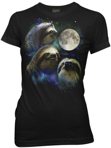 Three Wolf Moon Shirt Parody - Three Sloth Moon Shirt - 100% Cotton Women's T-Shirt Tee - Small
