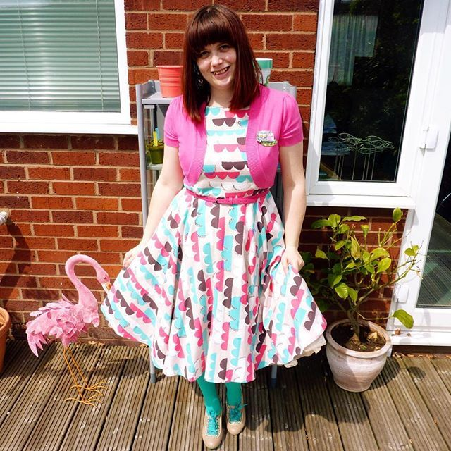 Sew Over It Betty dress in a gorgeous scalloped barkcloth from Miss Matatabi