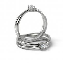 Inel de logodna cu diamant Ashir din aur alb