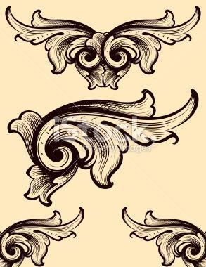 Engraving Swirls scrollwork Royalty Free Stock Vector Art Illustration