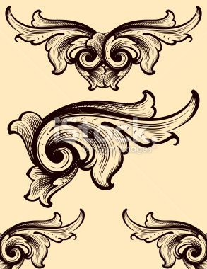 Engraving Swirls scrollwork Royalty Free Stock Vector Art Illustration