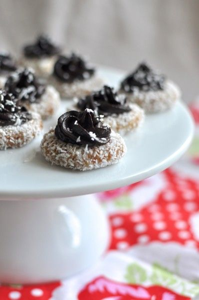 no bake coconut macadamia biscuits with chocolate icing