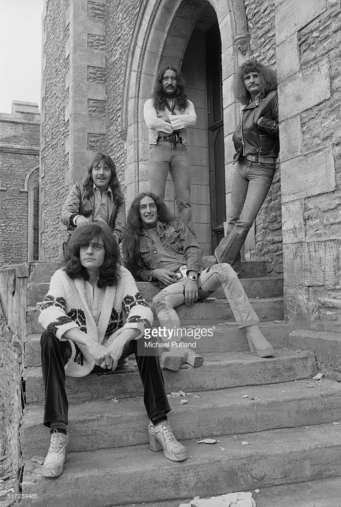 British rock group Uriah Heep, 1974. Left to right: bassist Gary Thain (1948 - 1975), drummer Lee Kerslake, guitarist Ken Hensley, guitarist Mick Box and singer David Byron (1947 - 1985).