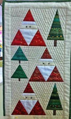 Santa Christmas Trees Wall Hanging Pattern by BobKat Quilts