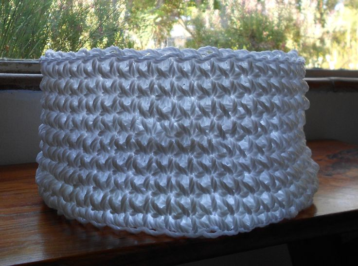 White plastic rope basket, crocheted, straight sides