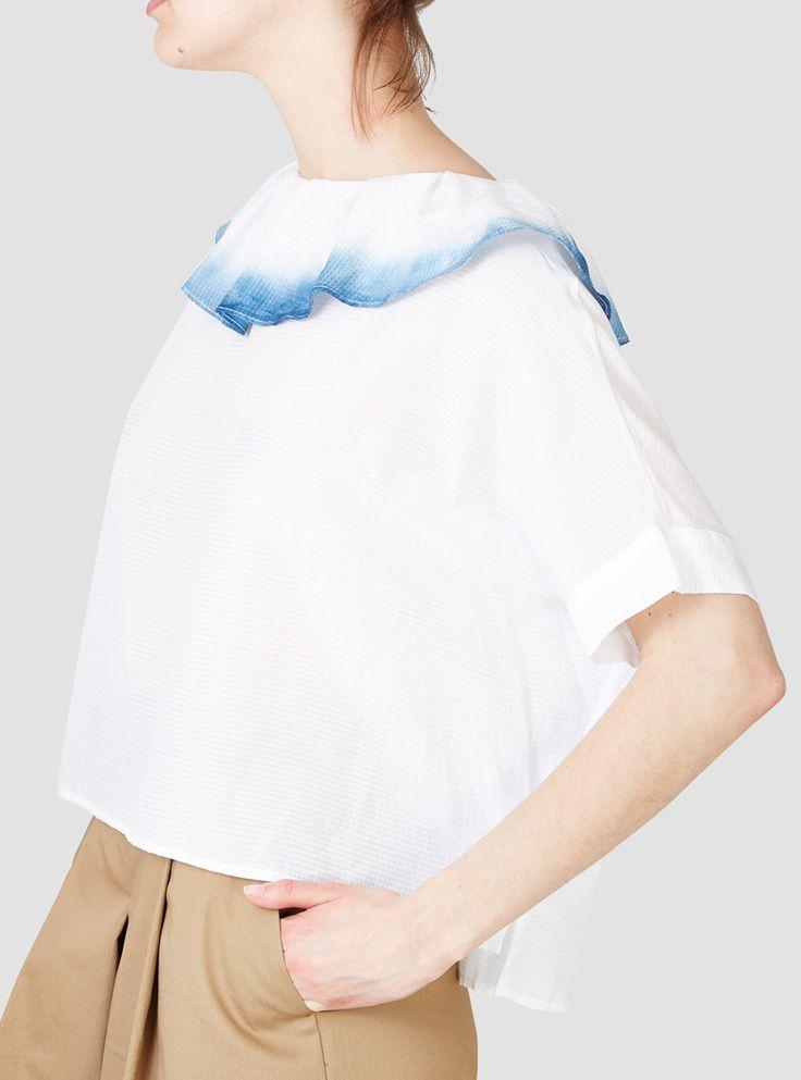 Tuck Collar Dip Dye Blouse White - Colenimo