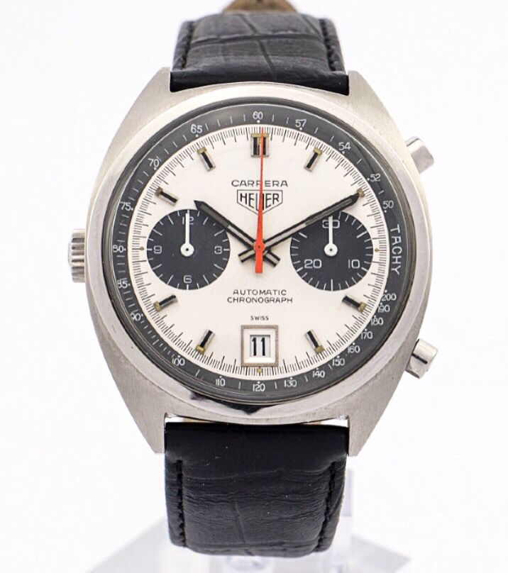 Rare and highly attractive original Heuer CARRERA chronograph made in the 60ies. Beautiful automatic caliber 11 with date. Collector´s piece. Find more details at our website, watch-time ID 1955. #heuer #tagheuer #watch #carrera #chronograph  #watchoftheday #vintagewatch #60s #automatic  #vintage #luxury #watchoftheday