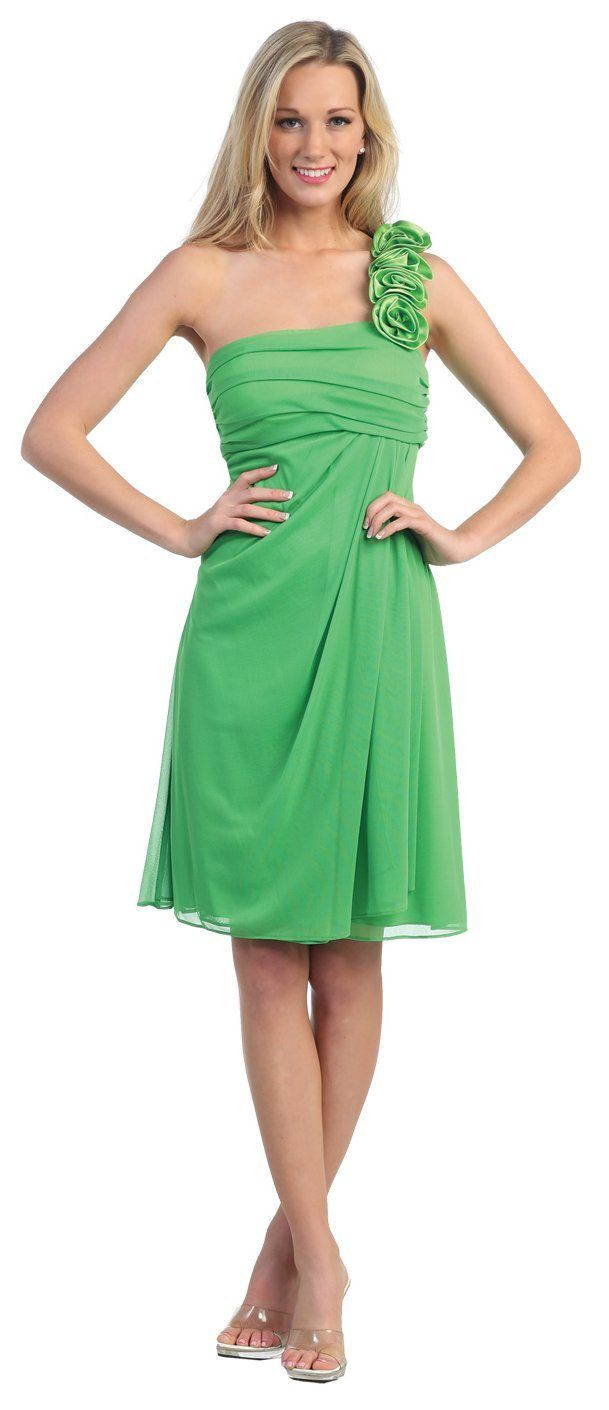 Lime Green Bridesmaid Dress One Shoulder Knee Length Chiffon Gown $87.99
