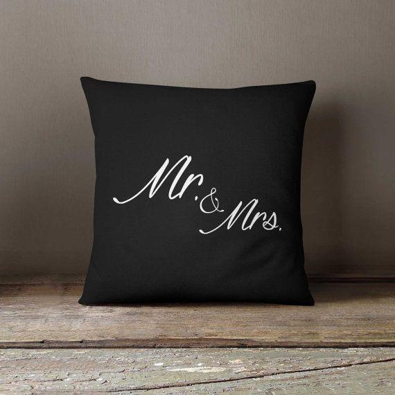 Pillow cover + insert 16x16, Wedding gift, Mr. & Mrs. Home decor, Anniversary gift, Pillow case, Sofa pillow, Designer throw pillow