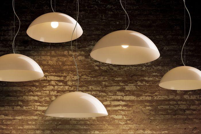 GREG   rendl light studio    Large suspended hemisphere of white plastic. #lights #pendant #white #plastic