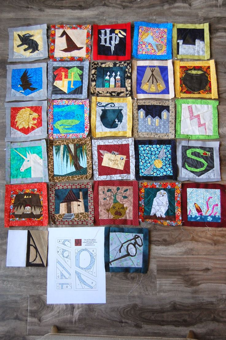Tutorial: paper piecing Harry Potter quilt. Free patterns from Fandom in Stitches (personal use only)