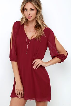 When it's time to shift your gears into glamour mode, the Shifting Dears Wine Red Long Sleeve Dress is our most dearly beloved dress! Wine red chiffon forms a roomy shift silhouette with a deep, scoop neckline and a flared shape that flows into an asymmetrical, concave hemline. Long, sheer sleeves have on-trend, cold shoulder cutouts that open all the way to the cuffs.