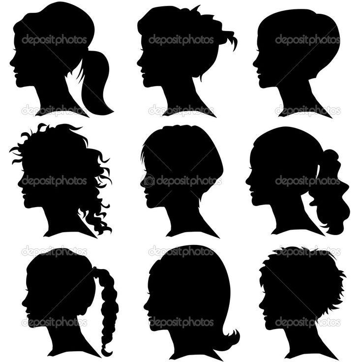Векторный набор силуэт женщины с укладки волос — стоковая иллюстрация #22983292