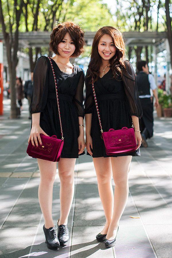 Japanese fashion photo, two girls wearing similar clothes