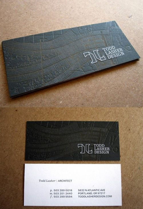 Smart and unique card design for a Portland, Oregon architect Todd Lasher. Embossed and overlaid with a clear foil this business card will leave a mark.