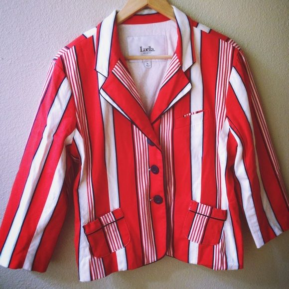 Luella Bartley Striped Boy Jacket Luella Bartley x Target Striped School Boy Jacket. From the cool Brit Luella Bartley's collection with Target, the first in Target's Go International program. 3/4 length sleeves. 97% cotton, 3% spandex. Machine wash. Size XL. xoxo. Luella Bartley Jackets & Coats Blazers