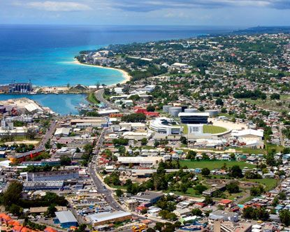 Lovely aerial view of Bridgetown, the capital city of Barbados