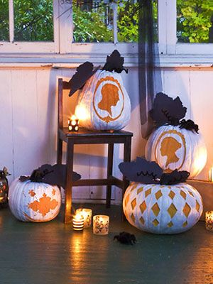 Victorian Pumpkins White spraypaint and our templates makes a different sort of jack-o'-lantern. Free Pumpkin Stencils & directions
