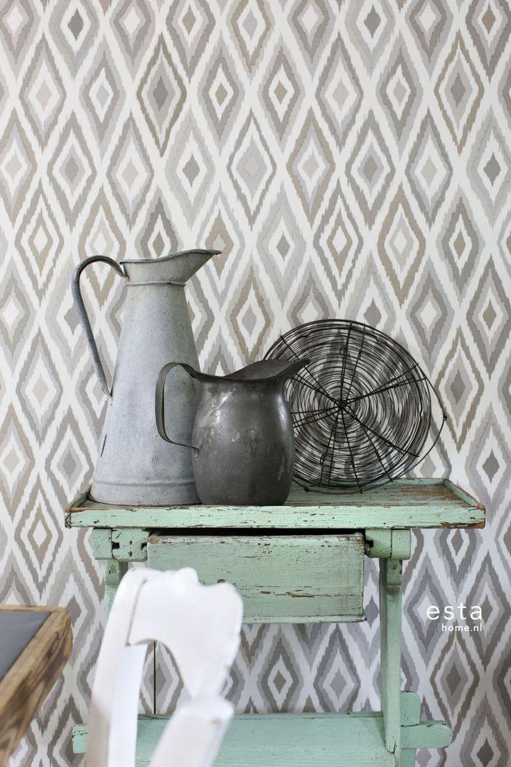 chalk printed eco texture non woven wallpaper Ikat Beige #beige  #bruin #ikat #keuken #Cabana #ESTAhome.nl