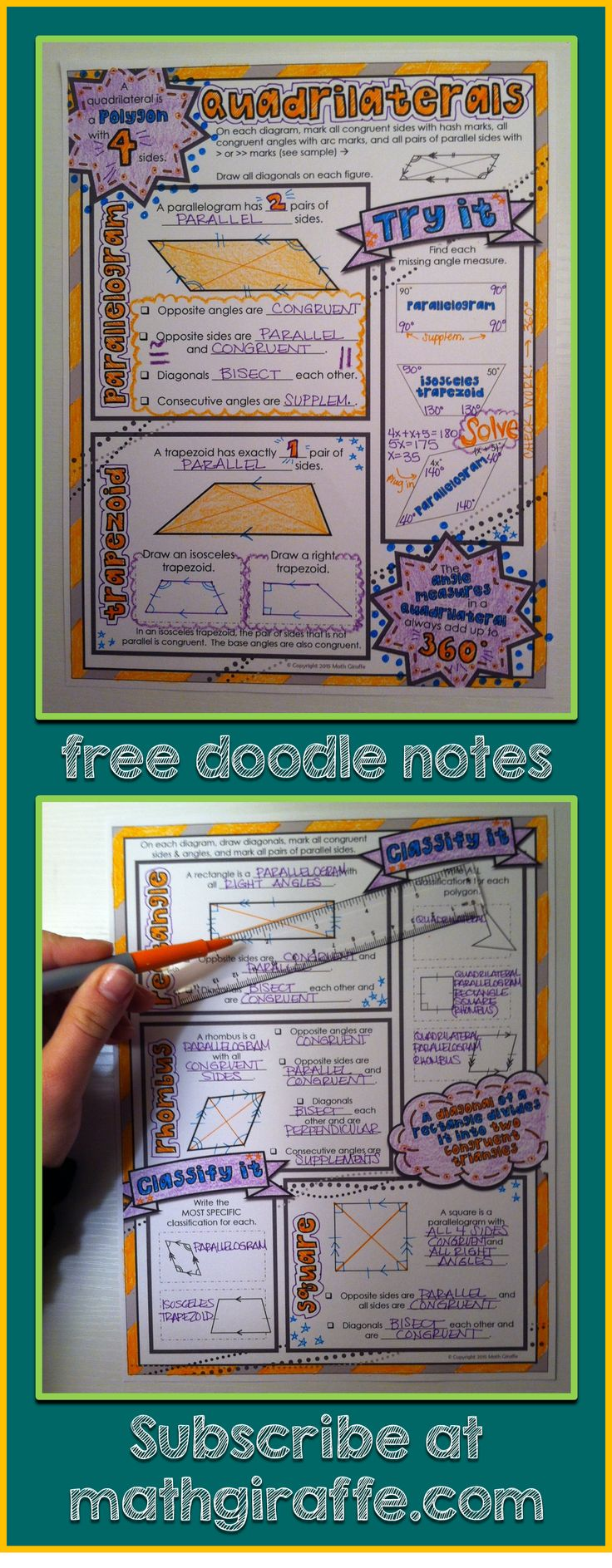 Quadrilaterals - classifications & properties: Free Doodle Notes for left and right brain communication in math class