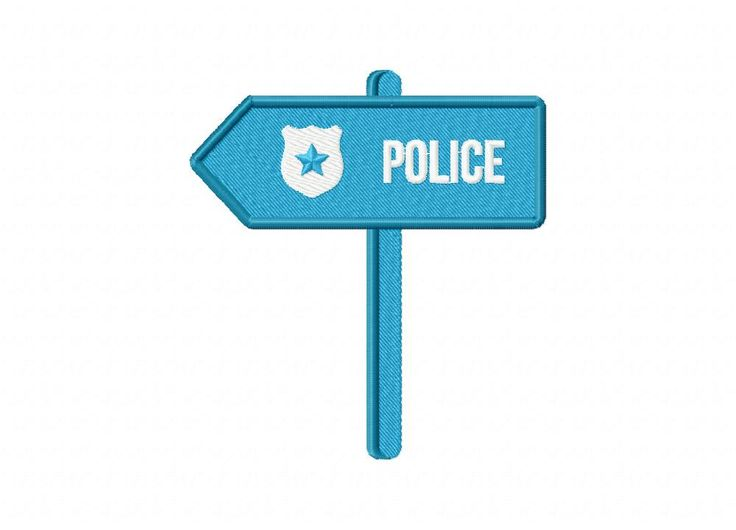 Police Sign Post Machine Embroidery Design