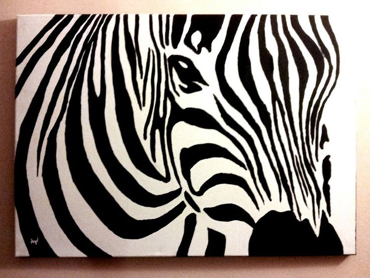 Zebra canvas acrylic painting by PatrissaArt on deviantART