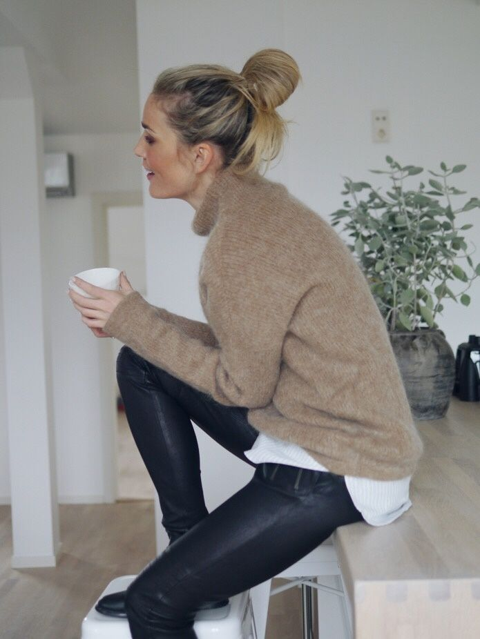 leather pants and camel turtleneck