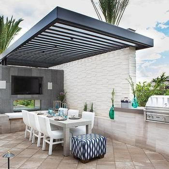 Contemporary Patio with Black Pergola