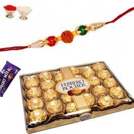 Send #Ferrero #Rocher with #Designer Bracelet Rakhi from http://www.rakhistoreonline.com/rakhi-with-chocolates/ferrero-rocher-with-designer-bracelet-rakhi.html