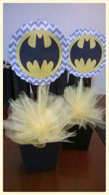 Batman chevron centerpieces..sweetdeliciouscakes