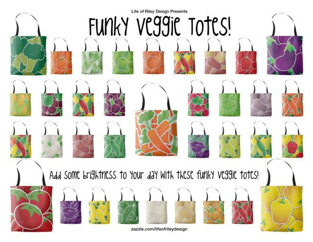 """""""Funky Veggie Totes!"""" by lifeofrileydesign on Polyvore"""
