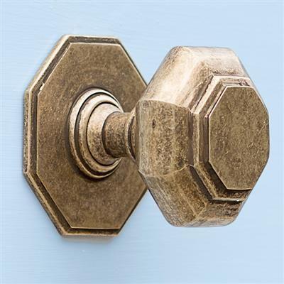Shaftesbury Centre Door Knob in Antiqued Brass