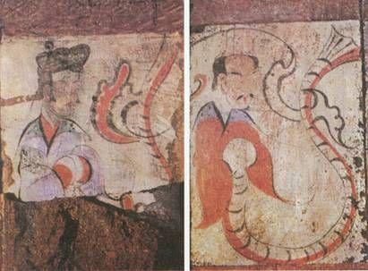 西漢中期 BC 48-7  河南洛陽卜千秋墓室壁畫之《伏羲女娲》
