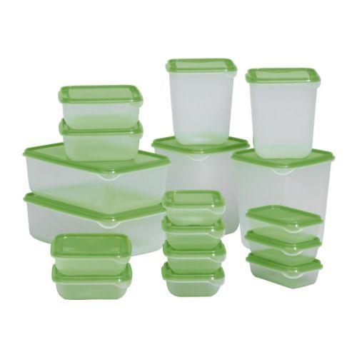IKEA - PRUTA, Bote con tapa, juego de 17, Juego básico de recipientes herméticos para guardar de todo: desde jamón y queso hasta raciones individuales de comida.Se pueden guardar unas cajas dentro de otras para ahorrar espacio.Aprovecha los alimentos al máximo guardando en un bote los restos para reutilizarlos después.Al ser transparente, podrás encontrar lo que buscas, independientemente de donde hayas puesto el recipiente.Se pueden apilar varias cajas para ahorrar espacio en el frigorífico…