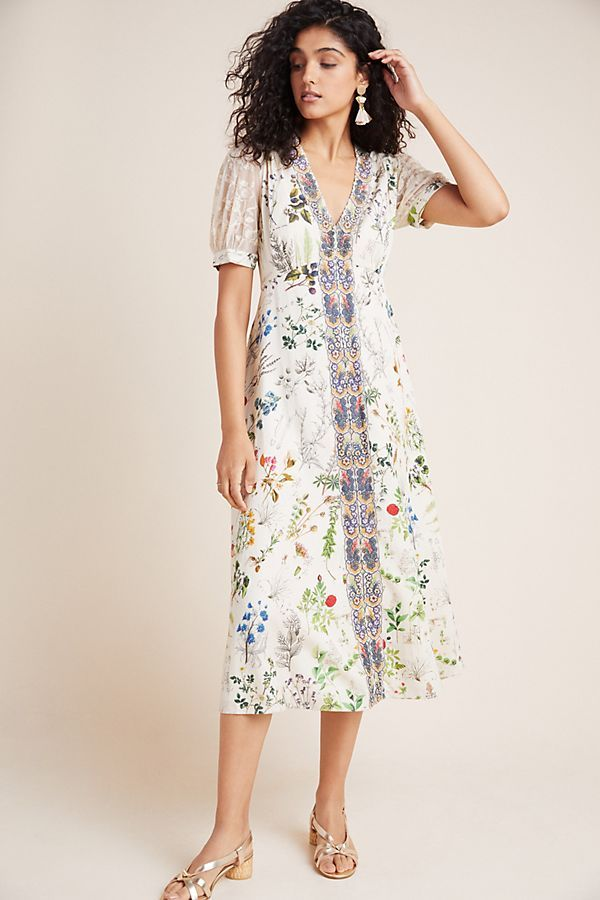 Embroidered Floral Midi Dress Anthropologie Uk Floral Midi Dress Midi Dress Dresses